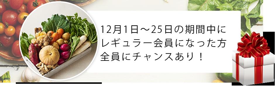 12月1日〜25日にレギュラー会員になった方全員にチャンスあり!